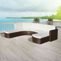 vidaXL Outdoor Sofa Set Wicker Poly Rattan Brown Garden Lounger Chair Seats