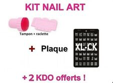 KIT TAMPON + raclette + PLAQUE XL-CK / stamping NAIL ART / ongles déco / NEUF