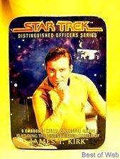 "NEW RARE STAR TREK TOS TIN W/5 METAL KIRK CARDS ""DISTINGUISHED OFFICER SERIES"""