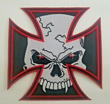 Skull IRON CROSS Biker Motorcycle Devil Eyes Fangs 6x6 Embroidered back Patch Lg