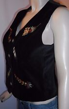 Susan Bristol 8P Black Velvety Soft Embroidered Button Front Vest Fully Lined