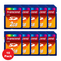 10 Pack Transcend Secure Digital SD 2GB 2 GB Memory Card for Cameras BRAND NEW