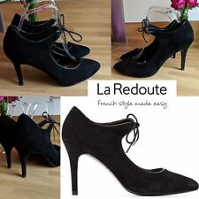 La Redoute Suede Black Ghillie Lace French Chic Mary Jane High Heels UK 7 EU 41