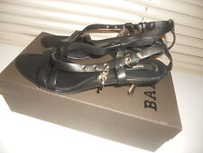Bally ~ Art to Wear ~ Black Strappy Bejeweled Heeled Sandals ~ 39 8 1/2