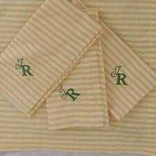 "Pottery Barn Thatcher Ticking Stripe Yellow Napkin, Set of 4 ""T R"" NWOT"