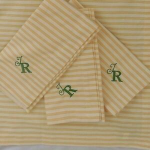"Pottery Barn Thatcher Ticking Stripe Yellow Napkin, Set of 4 ""T R"" NWOT"