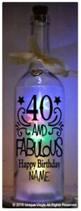 Light Up bottle Sticker, 40 and Fabulous, personalised birthday sticker add name