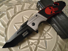 Mtech Ballistic Assisted Red Punisher Skull Tanto Folder Pocket Knife G10 A855RD