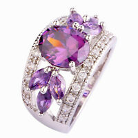 Purple Amethyst White Topaz Gemstone Jewelry Silver Ring Size 7 8 9 10 11 12