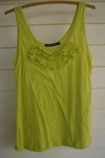 Living Doll Women's Sleeveless Yellow/Green Singlet Top with Ruffles - Size L