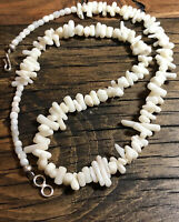 """#918 Natural White Branch Coral 21"""" Necklace, Angel Skin, Sterling Silver Clasp"""