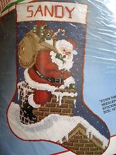 "Christmas Bucilla Holiday Needlepoint Stocking Kit,DOWN THE CHIMNEY,60690,18"""