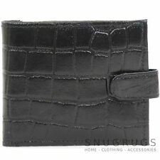 Mens Leather Crocodile Effect Wallet with Zipped Coin Pocket
