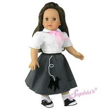 """50's Fifties Poodle Skirt Outfit Costume Halloween fit 18"""" American Girl Doll"""