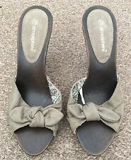 Ladies Atmosphere Brown Slip On Backless Mules Sandals Open Toe Size 5 SB13