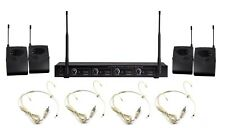 4 Channels UHF Professional Wireless Microphone mic System 4 Headset Microphone