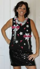 Deb Rottum's *** Tacky Ugly Christmas Sweater Women Size M Flamingo