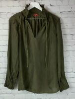 SUNDANCE CATALOG Womens' Olive Green Silky Blouse Shirt Size Medium