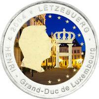 2 Euro Gedenkmünze Luxemburg 2004 coloriert  mit Farbe / Farbmünze Monogramm