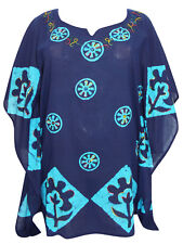 Eaonplus Ladies Kaftan Top Plus Size 16-22 One-size Tie Dye Embroidered Blue