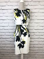 HOBBS Black White Green Floral Print Smart Occasion Party Pencil Dress UK 10