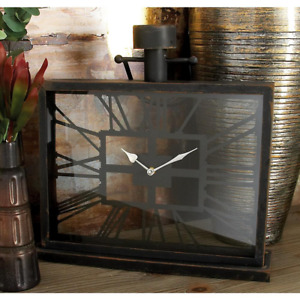 Horizontal Rectangular Table Clock Indoor Sturdy Design Home Decoration Black