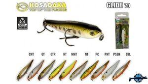 Leurre poisson nageur Glide 70 KOSADAKA 70mm 6,2gr pêche perche bass brochet