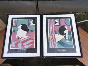 Pair Vintage Art Deco Prints By king galerie- la rose d amour & la vie en rose
