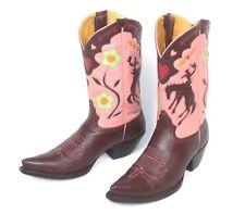Amazing Liberty Cowboy Boots - Wm's 6.5B Brown Pink Inlaid Bronc Rider Pee Wee