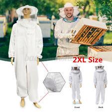 Xxl Professional Cotton Beekeeping Bee Keeping Full Body Suit w/ Veil Hood Us !