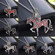 Pegasus Unicorn Flying Horse Crystal Pendant Chain Necklace Charm Jewelry Gifts