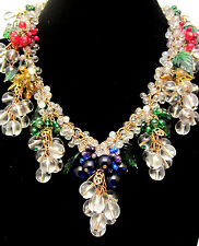 "Rare Vtg 16""x3"" Signed Miriam Haskell Brass Glass Grapes Leaves Dangle Necklace"