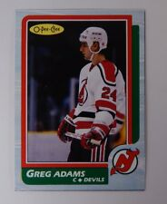 1986-87 OPC O-Pee-Chee Greg Adams Box Bottom Blank Back Hand Cut