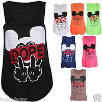 New Girls Ladies Dope Mickey Mouse Design Printed Top Tank Stretchy T-shirt Vest