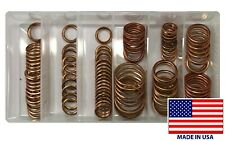110 Piece Crush-able Copper Oil Drain Plug Gasket Assortment Washer Kit - 9 Size