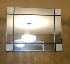Large Wall Antique Mirror Rectangle Contemporary 38 X 30 Frameless Crystal Wood