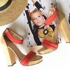 Bianca Buccheri Suede Leather 39 Red Orange Platforms Heels Shoes