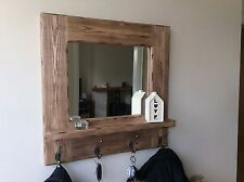 *Beautiful quality handmade rustic wooden mirror with Shelf and hooks*