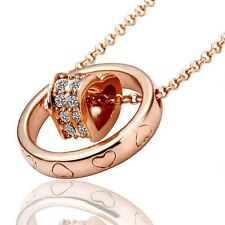 18K Rose GOLD Filled Heart Ring Solid Pendant Necklace With Swarovski Crystals