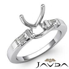 3 Stone Diamond Wedding Classic Baguette Round Mount Ring 14k White Gold 0.3Ct