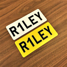 "9x3"" Personalised Set Kids Plastic Number / Name Plate Toy Car Quad Bike Custom"