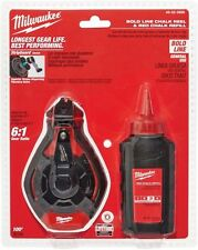 Milwaukee 100 ft. Bold Line Chalk Reel Kit with Red Chalk, 6:1 Gear Ratio
