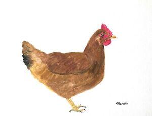 SALE Hen art, chicken, Original Watercolour Painting 9x12 inch Signed