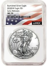 2020 W Burnished Silver Eagle Ngc Ms70 - Early Releases - Flag Label - Presale