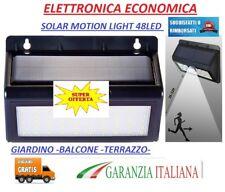 LAMPADA SOLARE DA ESTERNO GIARDINO FARETTO CON SENSORE DI MOVIMENTO 48 LED LUCE