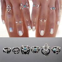 New Bohemia Fashion Turquoise Arrow Moon Knuckle Joint Midi Rings Set Jewelry
