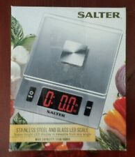 Salter Stainless Steel and Glass LED Kitchen Scale 11-Pound/5000 G capacity NIB
