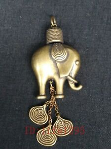 Collection Old China Tibet Copper Carving Lovely Elephant Statue Amulet Pendant