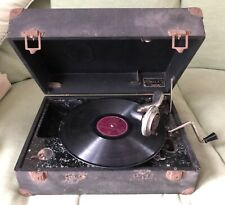 VINTAGE DECCA RALLY WIND UP PORTABLE GRAMOPHONE