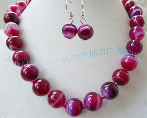22'' 10mm Natural Fuchsia Stripe Agate Gemstone Round Beads Necklace Earrings